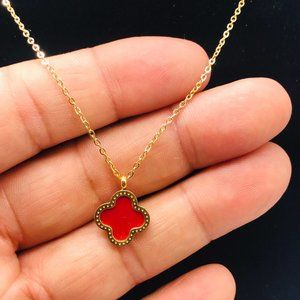 14K gold filled clover pendant